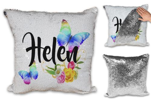 Personalised Beautiful Butterflies & Flowers Novelty Gift Sequin Reveal Magic Cushion Cover